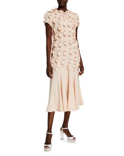 Ruffled Short-Sleeve Dress