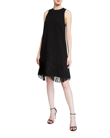 Image 1 of 2: Lela Rose Fringe A-Line Cocktail Dress