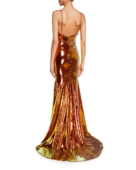 Alex Perry Aldridge Iridescent Sequined Mermaid Gown