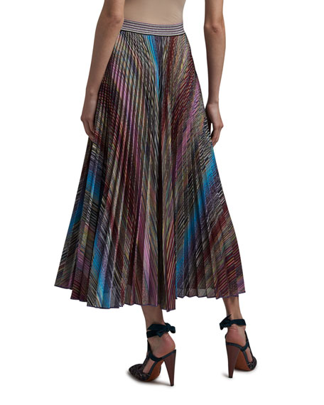 Image 2 of 3: Missoni Colorblocked Pleated Midi Skirt