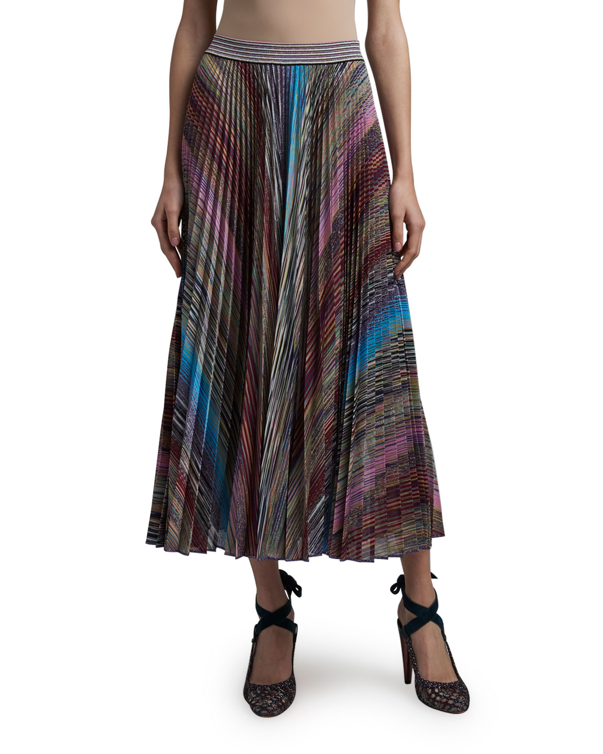 Missoni Colorblocked Pleated Midi Skirt