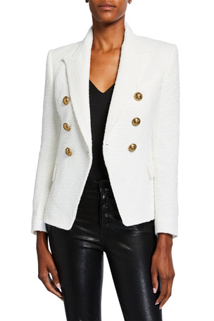 Balmain 6-Button Tweed Double-Breasted Blazer