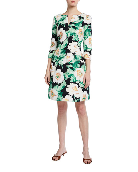 Image 2 of 3: Oscar de la Renta 3/4-Sleeve Floral Dress