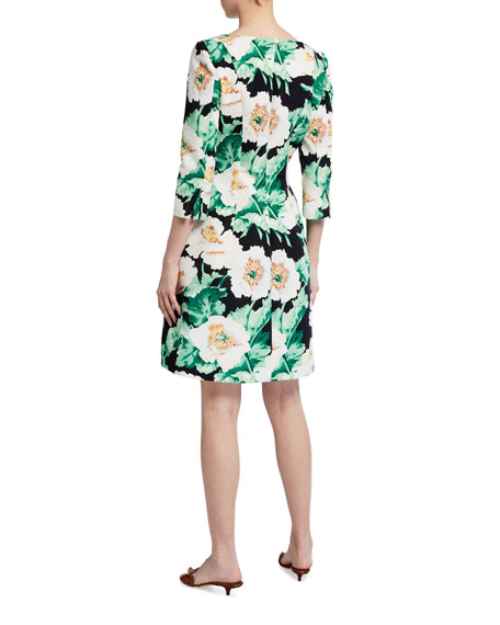 Image 3 of 3: Oscar de la Renta 3/4-Sleeve Floral Dress