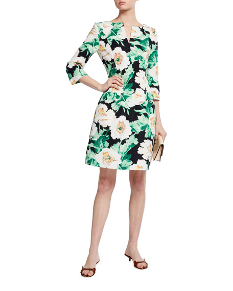 Image 1 of 3: Oscar de la Renta 3/4-Sleeve Floral Dress