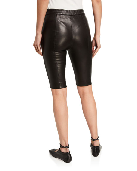 Image 2 of 3: Leather Biker Shorts