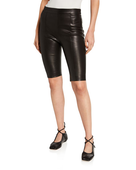 Image 1 of 3: Leather Biker Shorts