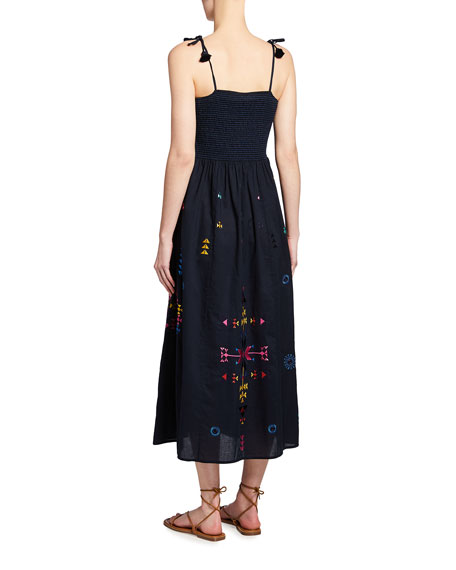 Image 2 of 2: Figue Azalea Embroidered Tie-Strap Maxi Dress