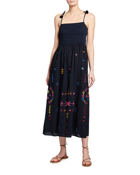 Image 1 of 2: Figue Azalea Embroidered Tie-Strap Maxi Dress