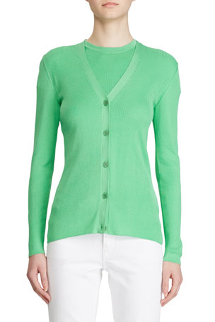 Ralph Lauren Collection Fitted Silk Cardigan Sweater, Green