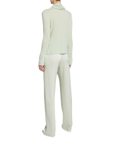 Image 2 of 2: LAPOINTE Cashmere Scarf-Neck Sweater, Light Green