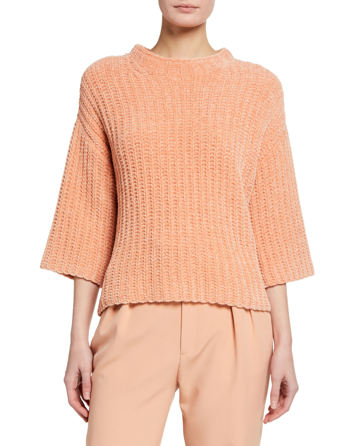 LAPOINTE Chenille Mock-Neck Elbow-Sleeve Sweater