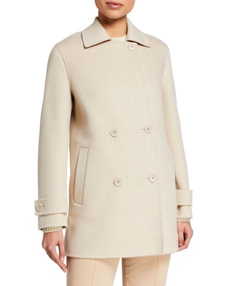 Image 2 of 2: Loro Piana Cashmere Double-Breasted Pea Coat