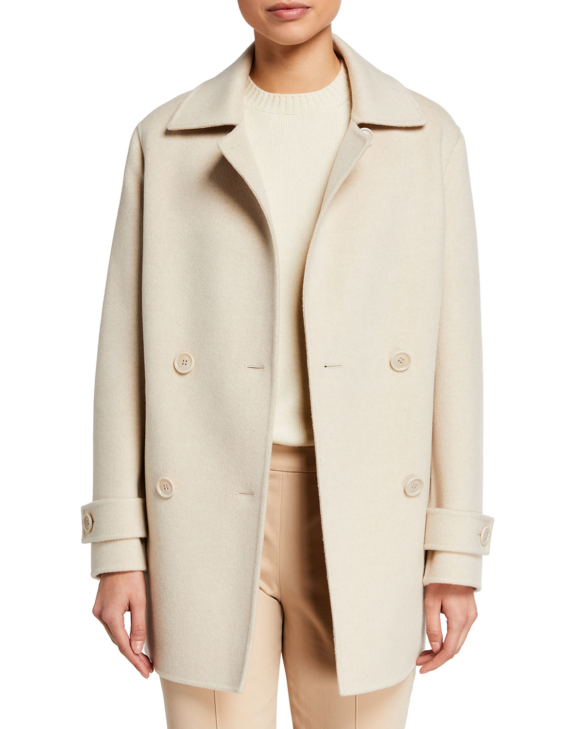 Loro Piana Cashmere Double-Breasted Pea Coat