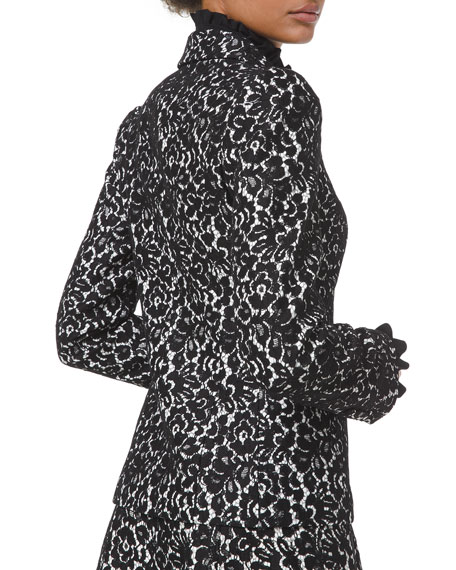 Image 2 of 2: Michael Kors Collection Bonded Lace Puff-Sleeve Blazer