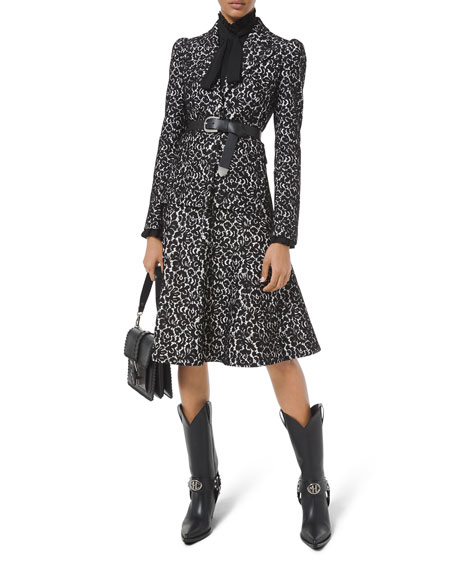 Image 1 of 2: Michael Kors Collection Bonded Lace Puff-Sleeve Blazer