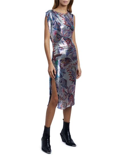 Paco Rabanne Floral-Print Bodycon Mesh Dress