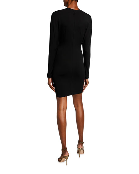 Image 2 of 2: CUSHNIE Ruched Body-Con Mini Dress