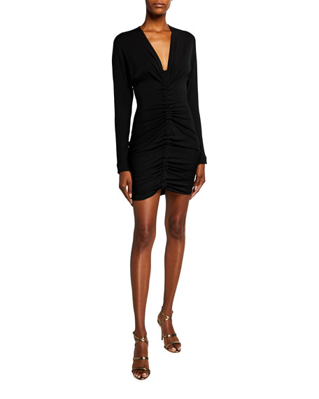 Image 1 of 2: CUSHNIE Ruched Body-Con Mini Dress