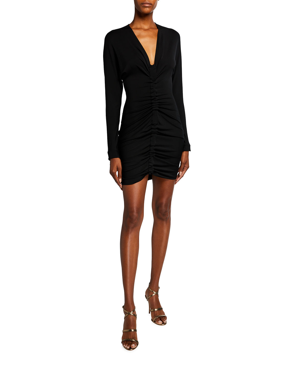 CUSHNIE Ruched Body-Con Mini Dress
