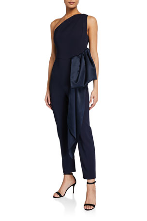 CUSHNIE Crepe One-Shoulder Jumpsuit with Satin-Draped Waist