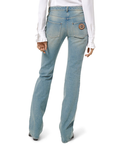 Image 2 of 3: Michael Kors Collection Faded Wash Monogram Stovepipe Jeans