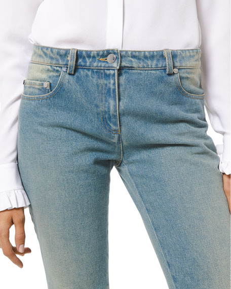 Image 3 of 3: Michael Kors Collection Faded Wash Monogram Stovepipe Jeans