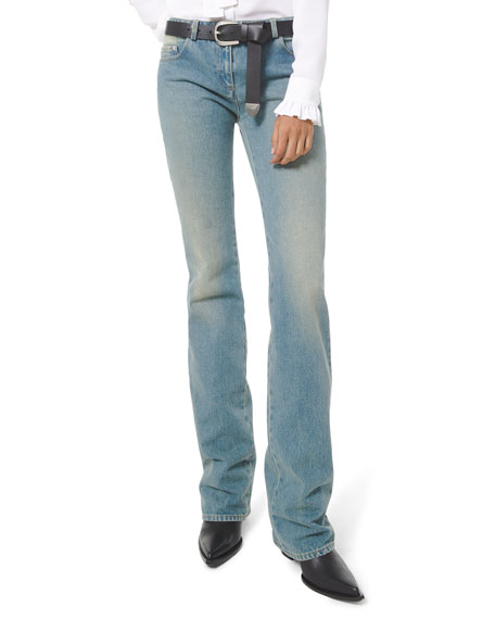 Image 1 of 3: Michael Kors Collection Faded Wash Monogram Stovepipe Jeans