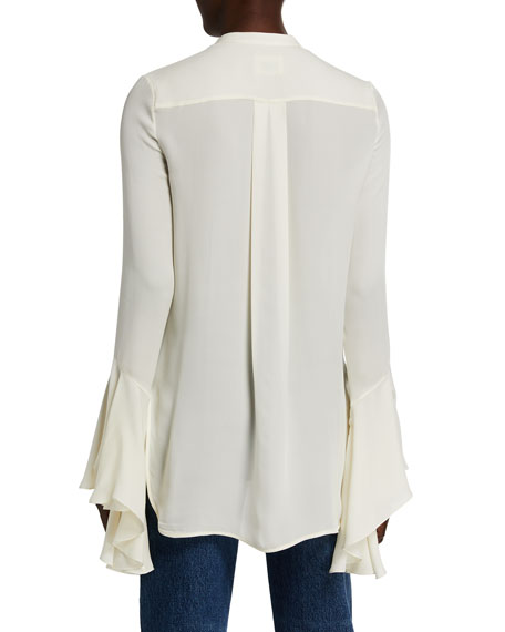 Image 2 of 2: Khaite Keith Silk Georgette Shirt