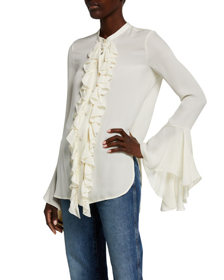Image 1 of 2: Khaite Keith Silk Georgette Shirt