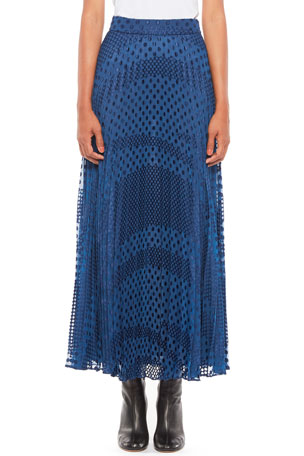 Emporio Armani Devore Dot Pleated Midi Skirt