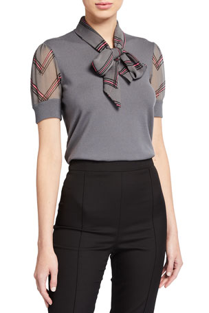 Emporio Armani Short-Sleeve Knit Top with Contrast Bow Collar