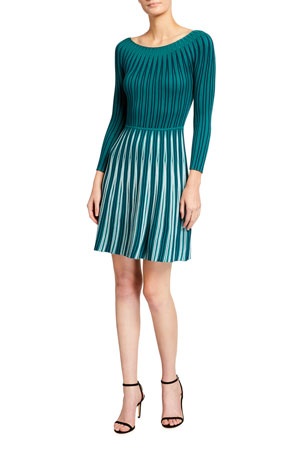 Emporio Armani Long Sleeve Vertical Jacquard Knit Dress $495.00