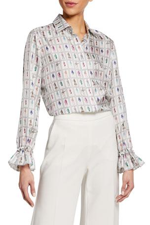 Maxmara Fashion-Print Silk Flounce-Cuff Shirt
