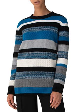 Akris punto Kodak Striped Wool-Cashmere Boxy Sweater