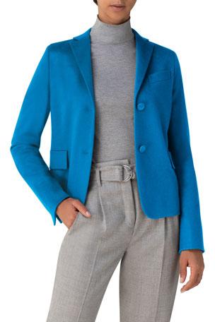 Akris punto Notch-Collar Fitted Wool-Cashmere Blazer