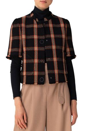 Akris punto Blanket Check Tweed Wool-Blend Short Jacket