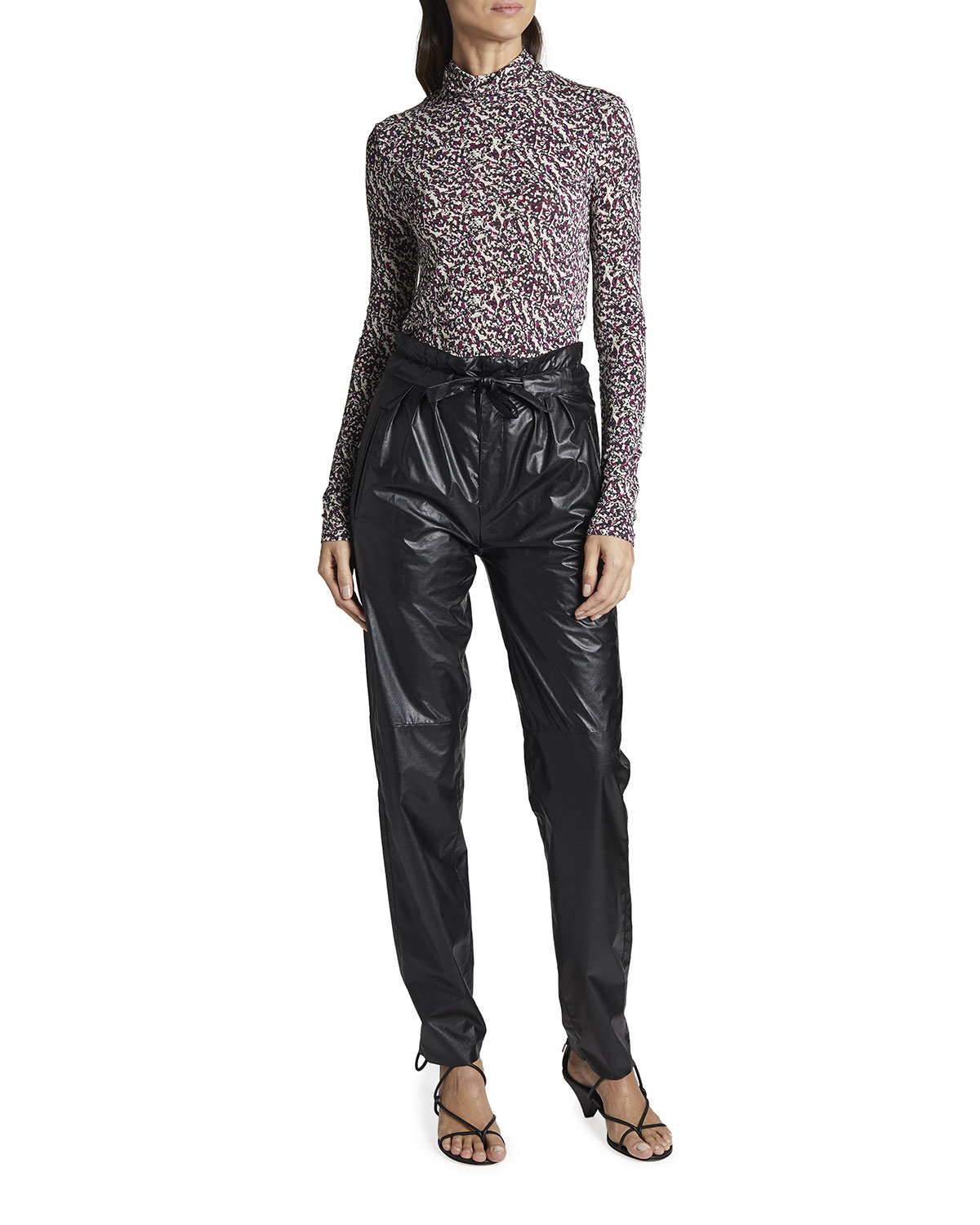 Isabel Marant Abstract-Print Jersey Turtleneck Top