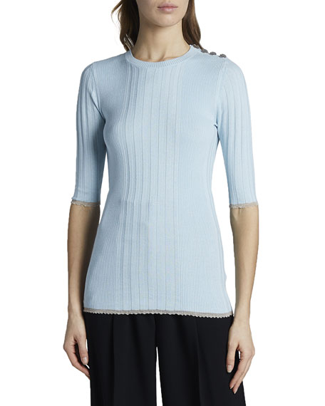 Silk Cashmere 12 Sleeve Fitted Sweater