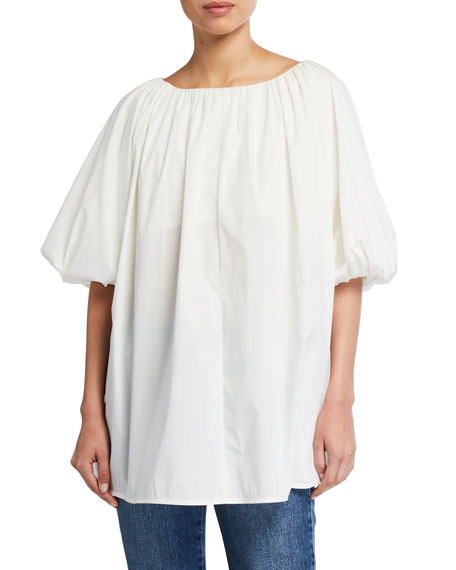 Image 1 of 2: Co Cotton Short-Sleeve Bubble Top