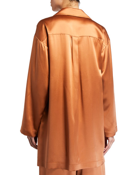 Image 2 of 2: Silk Charmeuse Button-Front Shirt