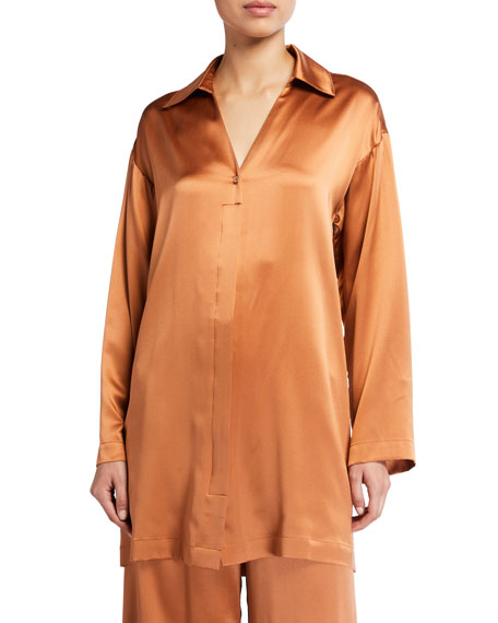 Image 1 of 2: Silk Charmeuse Button-Front Shirt