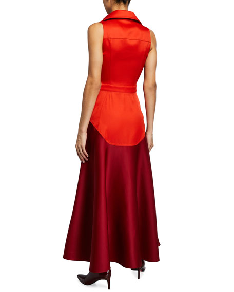 Image 2 of 2: Brandon Maxwell Stretch Gazaar Tea-Length Dress