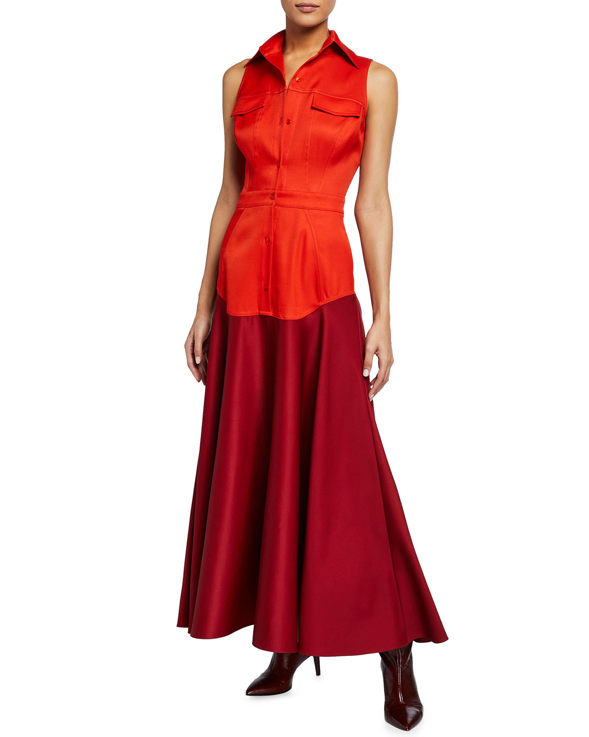 Brandon Maxwell Stretch Gazaar Tea-Length Dress