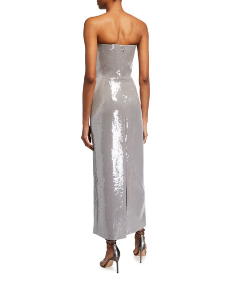 Image 2 of 2: Brandon Maxwell Strapless Sequined Gabardine Cocktail Dress