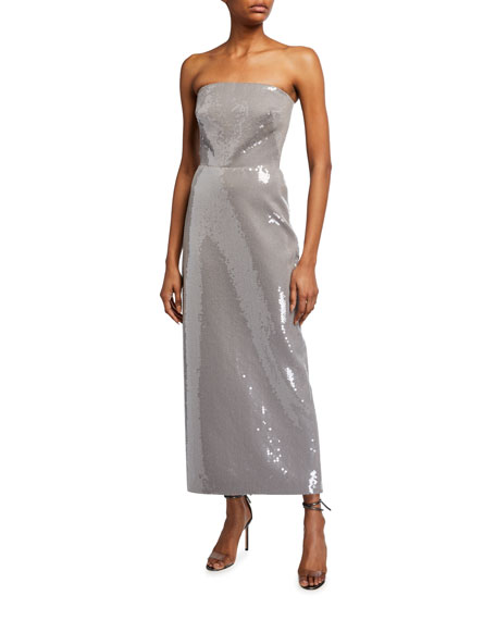 Image 1 of 2: Brandon Maxwell Strapless Sequined Gabardine Cocktail Dress