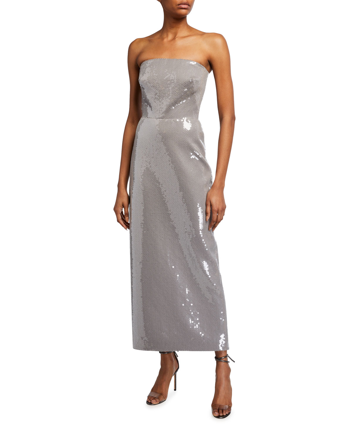 Brandon Maxwell Strapless Sequined Gabardine Cocktail Dress