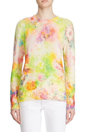 Ralph Lauren Collection Cashmere Floral-Print Crewneck Sweater $503.00
