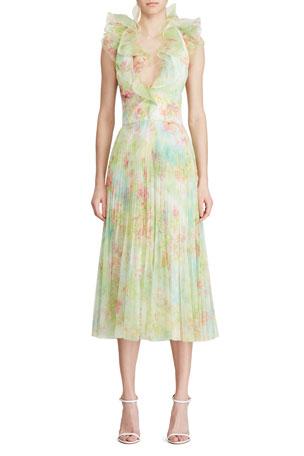 Ralph Lauren Collection Tasha Ruffled Chiffon Dress