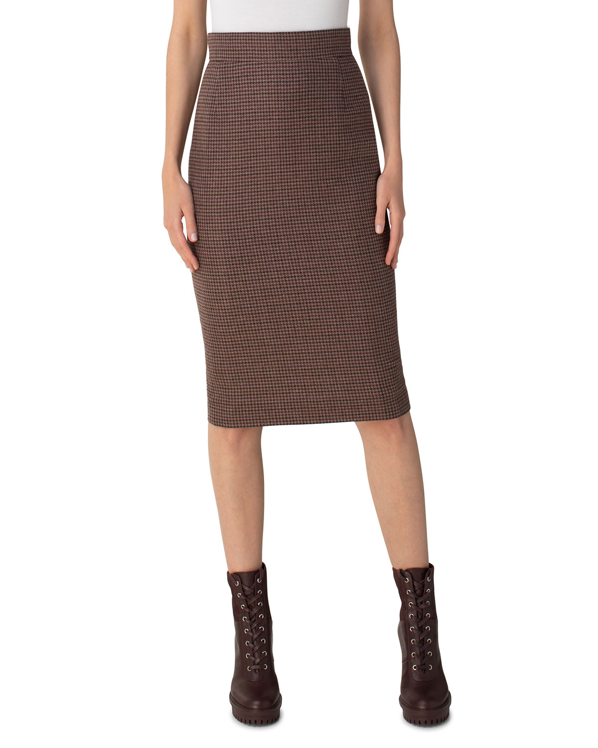 Akris Tiny Check Print Cashmere Pencil Skirt